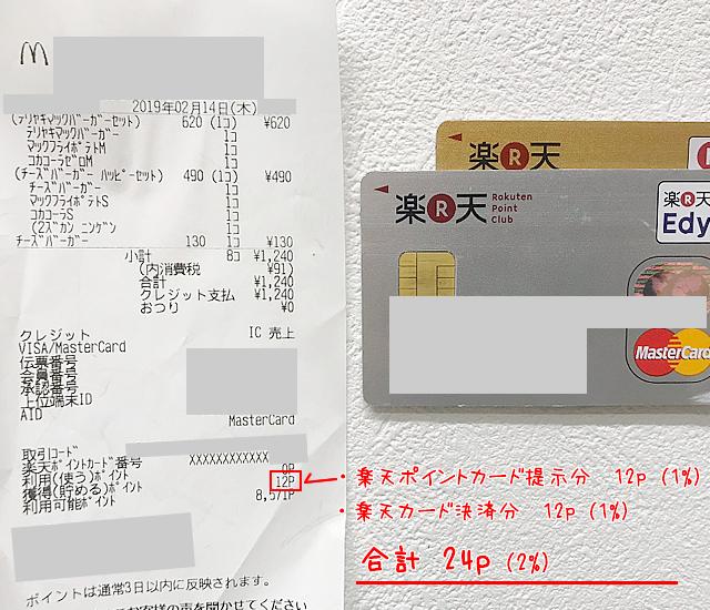 マクドナルドで楽天カードとdカードを比較