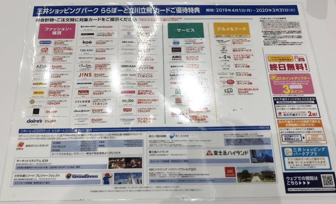三井ショッピングパークカード優待特典