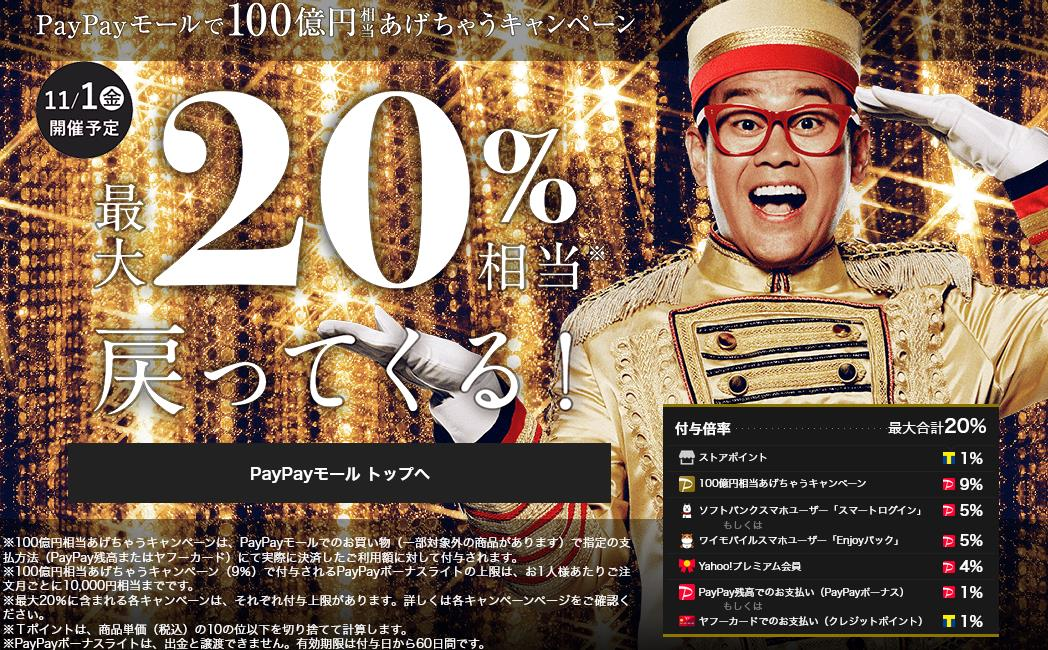 PayPayモール20%相当還元